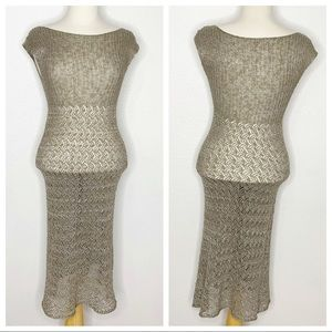 Margaret O'Leary Knit Sheer Dress Size Small
